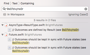 Xcode search panel